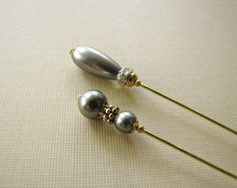2 Pewter Teardrop Pearl Hatpins, Gold Plated Hijab Pins, Stick Pins