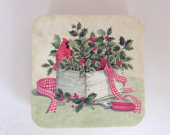 Holly Basket Christmas Coasters - Set of 8