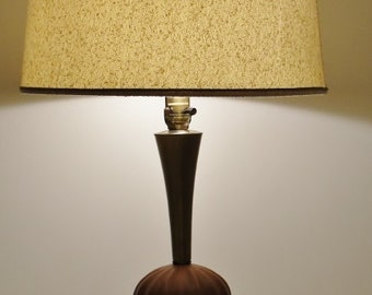 Mid Century Modern Vintage Table Lamp with Brass Accents