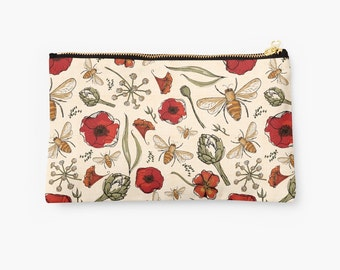 Bee Zip Pouch, Make Up Bag, Pencil Case, Clutch Bag, nature, floral, flower, poppies, nature