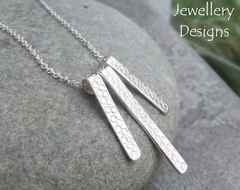 Bubbles Textured Bars Sterling Silver Necklace - Organic Handstamped Metalwork Jewelry Jewellery - Texture and Shine