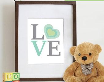 Love Print, Nursery Print, Kids print  Item 002