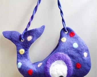 OOAK handmade children bag, fiber art hand-felted shoulder bag, art textile felt bag, gift for kids, easter gift, wool purple unique bag