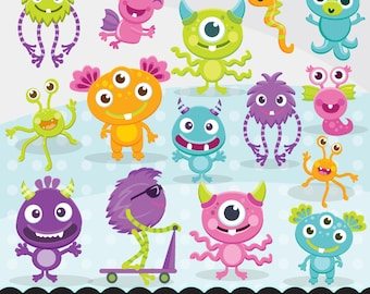 Cute fluffy Monsters clipart, cute birthday graphics, illustration, planner stickers, scrapbooking, character, embroidery, cutting files,