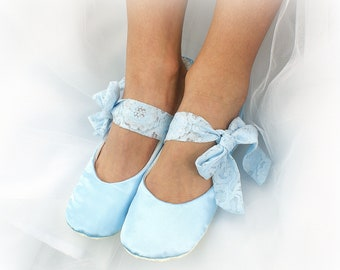 Light Blue Wedding Ballet Flats Shoes Satin Ballet Slippers Side Ties Something Blue Bridal Flats Shoes for Brides Custom Flats