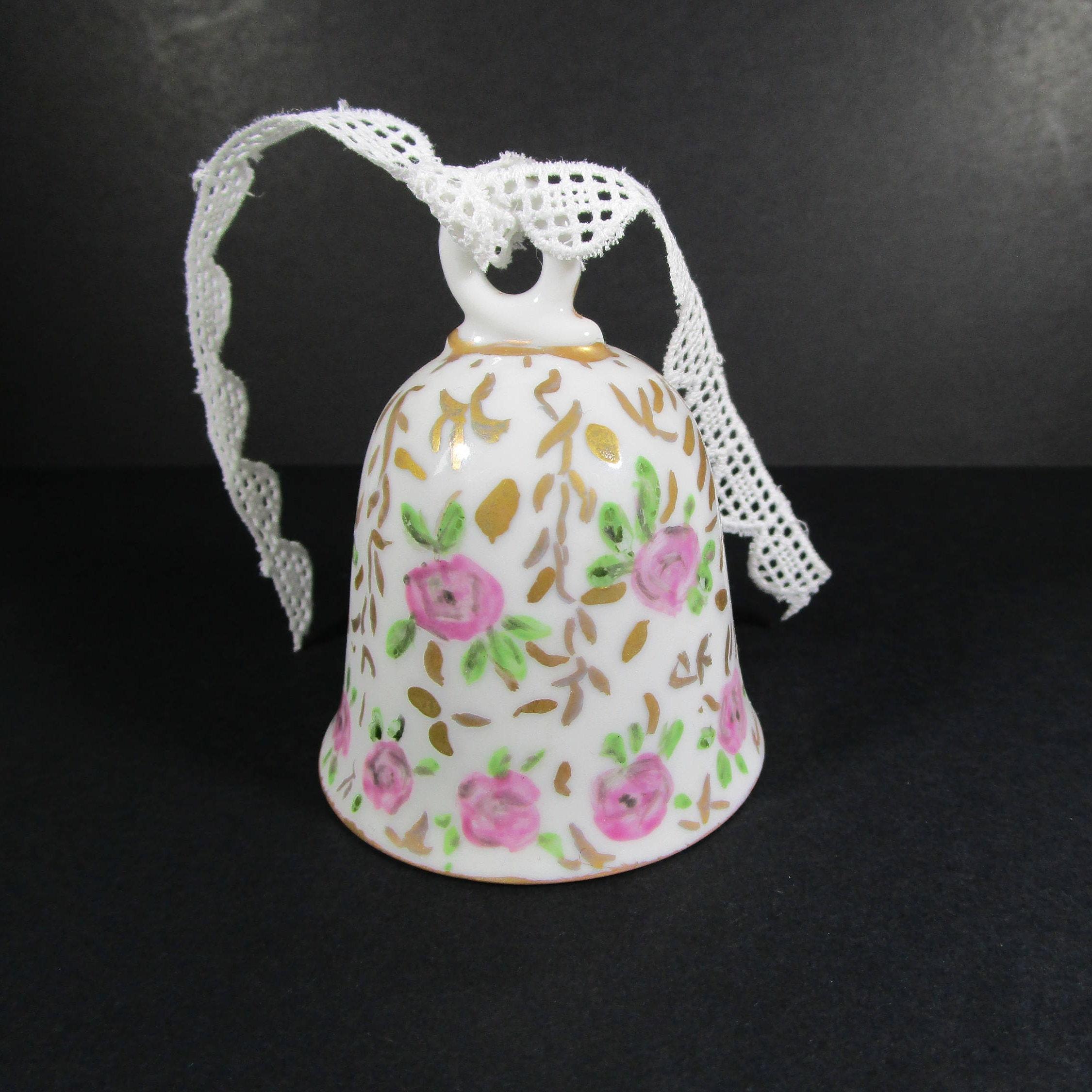 Vintage Porcelain Bell Hand Painted Bell Wedding Bell