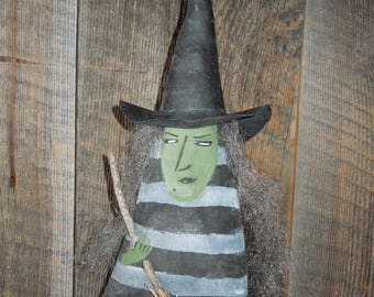 Witch Doll, Soft Sculpture Doll, Witch with Broom, Winifred Witch, Halloween, Hexennacht, Black Cat