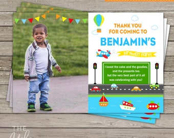 Transportation Photo Thank You Card | Transportation Birthday Party | Planes, Trains & Automobiles Party | Printable Thank You Card