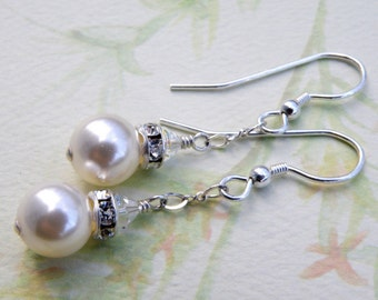 White Pearl Earrings, Bridal Wedding Jewelry, Swarovski Crystal, Sterling Silver, Bridesmaid Accessory, Drop Bridal Party Gift