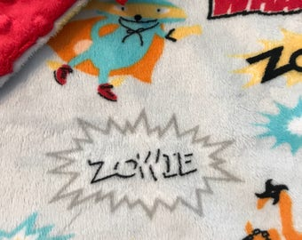 Minky Lovey, Security Blanket Grey Superhero Print Minky with Red Dimple Dot Minky Backing - great for a new baby