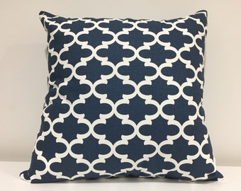 Geometric pillow cover, custom pillow cover, home decor, Decorative pillow cover, blue and white pillow cover,cushion cover, Handmade in USA