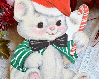 Vintage Christmas Card - Flocked White Teddy Bear with Candy Cane - Unused for Grandmother