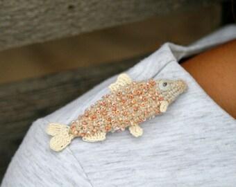 Beige crochet fish brooch - whimsical jewelry - modern crochet pin