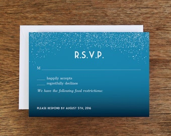 Night Sky Printable RSVP Card - Response Card Download - Instant Download - RSVP Template - Starry Indigo Sky Response Card - Response Card