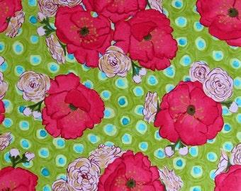 Laura Gunn Poppy Bouquet in Lime, OOP VHTF Free Spirit Fabric Fat Quarter FQ