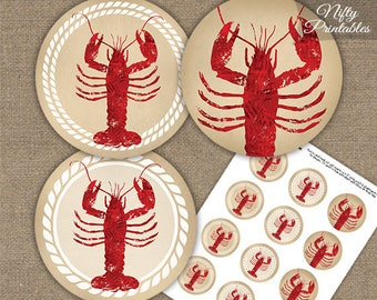 Lobster Party Circles Cupcake Toppers - Printable Lobster Boil or Bake Decorations - Nautical Seafood Lobster Dinner Decorations LOB1