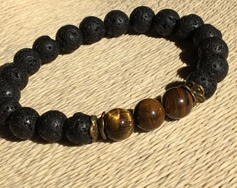 Tiger Eye 10mm, Large Wrist Black, Mens Bracelet 10mm, Meditation Mens Yoga, Lava Gemstone 10mm, Large Mens Jewelry, Tiger Eye Bracelet Chic