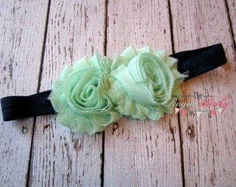 Mint & Navy Blue Headband - Newborn Infant Baby Toddler Girls Adult Wedding