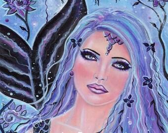 Melia bohemian  mermaid portrait  print  by Renee L. Lavoie