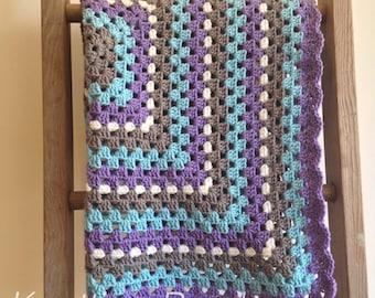 Baby Blanket, Crochet Granny Square Blanket, Baby Girl Blanket, Gray, Purple and Teal stroller blanket, baby shower gift