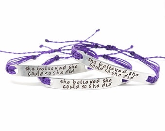 Mantra Bracelet | She Believed She Could So She Did | Hand Stamped String Bracelet | Motivational Gift | Affirmation Jewelry | Inspirational