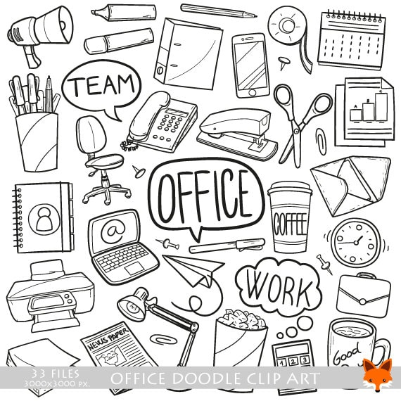 Office Work Items Objects Doodle Icons Clipart Scrapbook Set