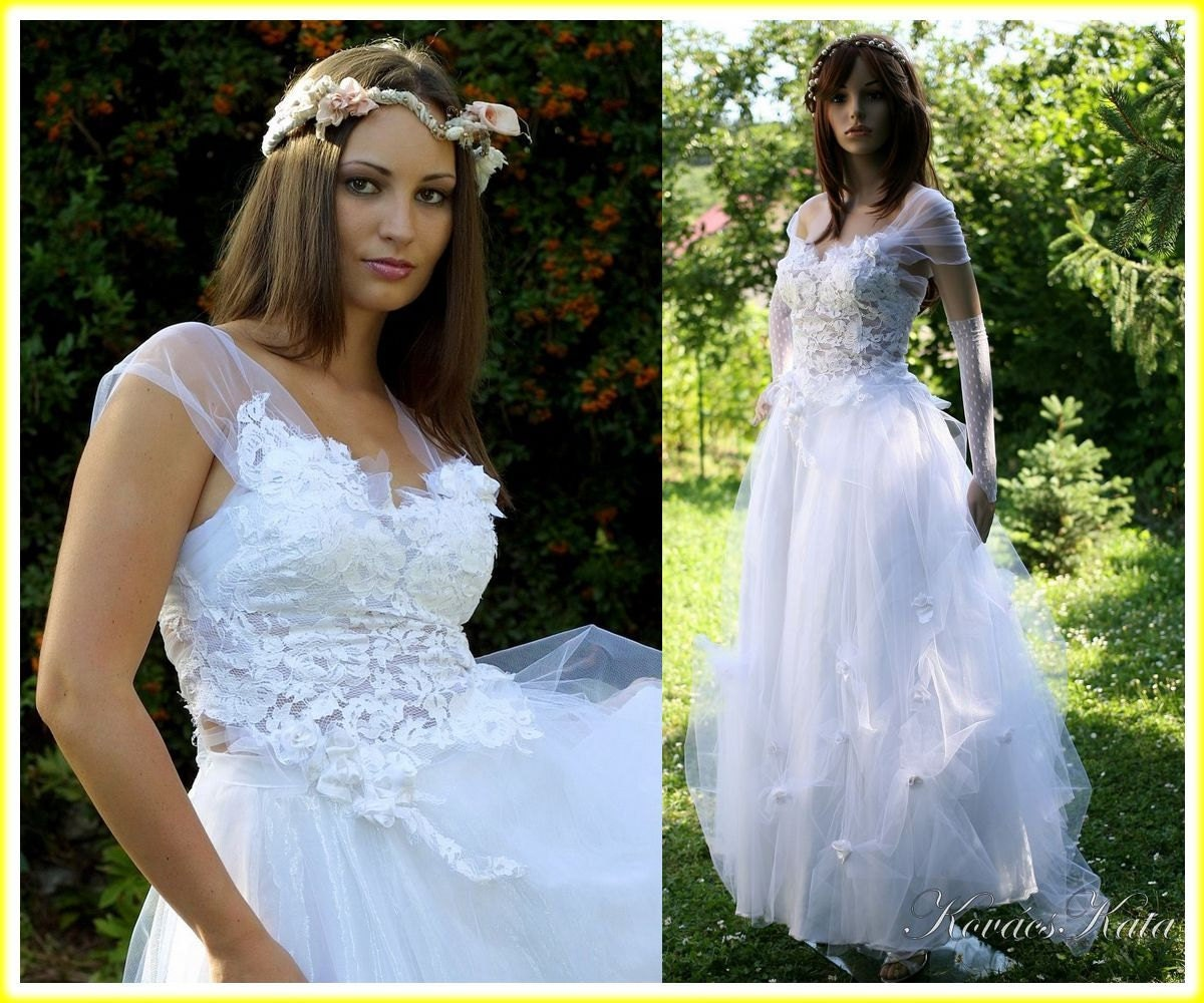 French Lace Wedding Gown: Bohemian Princess French Lace And Tulle Ethereal Wedding Dress