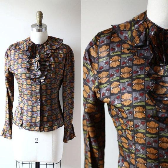 1960s acorn blouse // 1960s ruffle top // vintage womens blouse