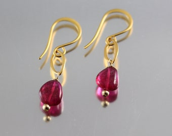 Rubellite Tourmaline Earrings - 24k Gold over Sterling - Pink Tourmaline Earrings - Smooth Nuggets