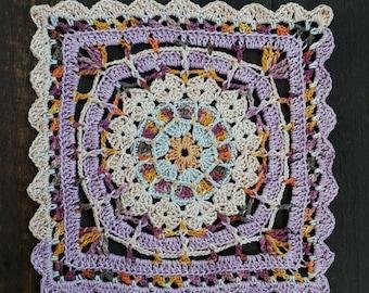 Scrapsadelic Frutti Tutti Mandala Crpochet Square - PDF Instant Digital Download Crochet Pattern Shawl Afghan Square
