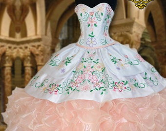 Quinceañera Dress by Claudia C. Blush / White with embroidered multicolored flowers