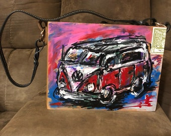 Original VW Bus Artwork Cigar Box Purse
