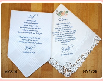 Mother of the Bride & Father of the Bride Handkerchiefs-Wedding Hankerchief-PRINTED-CUSTOMIZED-Wedding Gift-Mother of the Bride Gift