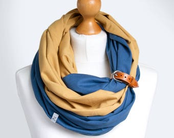 Infinity scarf with leather cuff, COTTON infinity scarves with leather band, infinity scarves , gift ideas, mustard yellow and blue