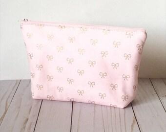 Pink Makeup Bag with Gold Bows |