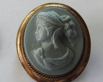 Antique Victorian Lava (?) Cameo Brooch