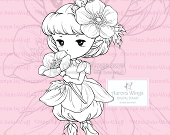 PNG Buttercup Sprite - Aurora Wings Digital Stamp - Adorable Flower Fairy - Fantasy Line Art for Arts and Crafts by Mitzi Sato-Wiuff