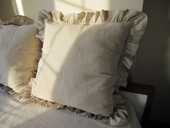 26 Inch Ivory Oatmeal Beige Ruffle Euro Sham Pillow Shabby