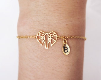 Elephant Bracelet, personalized bracelet, initial bracelet, elephant jewelry, animal jewelry,christmas gift, leaf initial