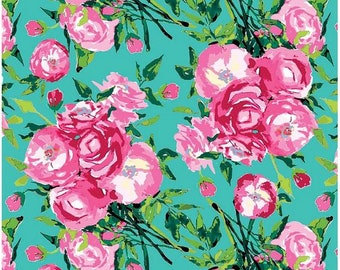 Floral Cotton Fabric- Aqua, Mint, and Hot Pink Modern Flower Berkshire Garden Main Floral- Riley Blake Designs by Lila Tueller Floral Fabric