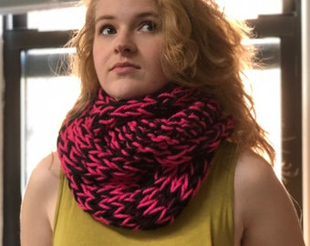 Super Chunky Acrylic Scarf Hot Pink Black Cozy Thick Soft Best Washable Dryable Handmade Infinity