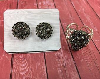 Boho Druzy, Black Druzy Jewelry Set, Sparkly Druzy Ring, Sparkly Druzy Studs, Silver Earrings, Adjustable Silver Ring, Boho Hippie Jewelry