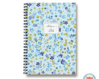 Custom Notebook Blue Flowers  Bullet Journal Notebook Planner Sketchbook Spiral Notebook Schrift Recipe Book   Cadeau 1N