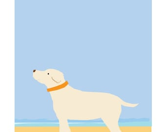 Yellow Lab in Summer Original Illustration matted in 11 x 14 inch white mat