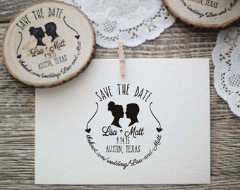 Wedding Invitation Stamp, Save the Date, Silhouette Couple Rubber Stamp, Wood Slice Stamp, DIY Wedding Stamp, Custom Wedding Stamp