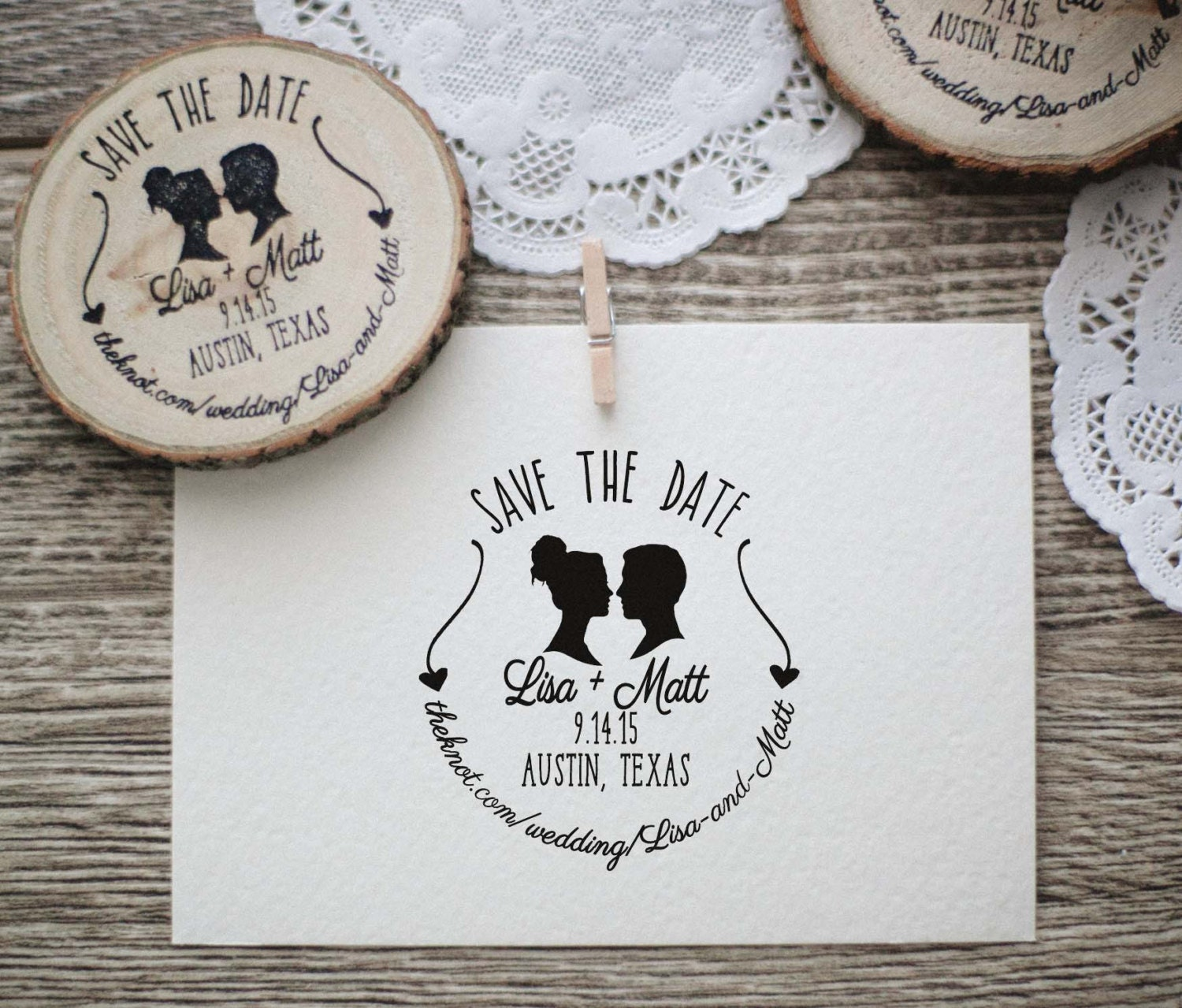 Wedding Invitation Stamp, Save the Date, Silhouette Couple Rubber ...