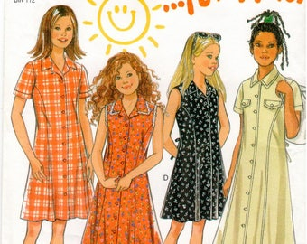 New Look for Kids UNCUT Pattern 6620 - Girls Summer Dresses with Princess Seams and Sleeve Variations - 7-12