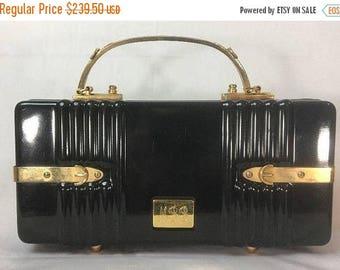 ON SALE Vintage Crown LEWIS Black Box Handbag Purse - Made In France Gold Tone Hardware Monogrammed - Mid Century Lucite Clutch Bag