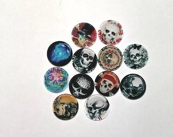 Set of 12 12 mm skull cabochon