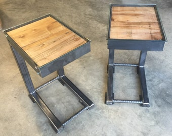 Wonderful Side Tables W/ Glass Top, Steel U0026 Reclaimed Wood, End Tables, Side